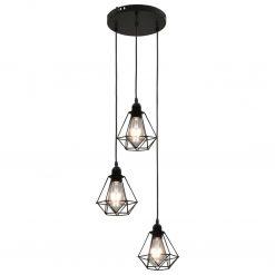 Candeeiro de teto com design diamante 3 lâmpadas E27 preto