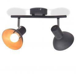 Candeeiro de teto p/ 2 lâmpadas E27 preto e dourado