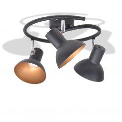 Candeeiro de teto p/ 3 lâmpadas E27 preto e dourado