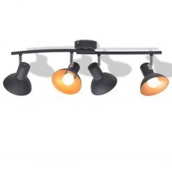 Candeeiro de teto p/ 4 lâmpadas E27 preto e dourado