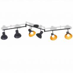 Candeeiro de teto p/ 6 lâmpadas E27 preto e dourado