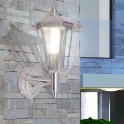 Candeeiro parede exterior iluminação ascendente aço inoxidável