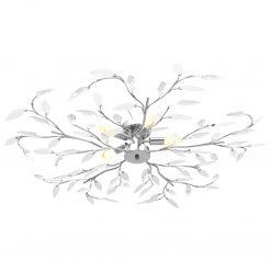 Candeeiro teto braços folhas de cristal acrílico 5 E14 branco