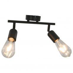 Candeeiro teto c/ 2 lâmpadas incandescáncia 2W E27 preto