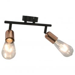 Candeeiro teto c/ 2 lâmpadas incandescáncia 2W preto/cobre E27