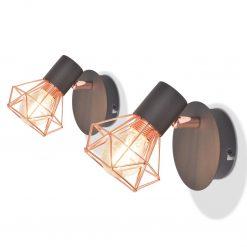 Candeeiros de parede 2 pcs c/ 2 lâmpadas filamentos LED 8 W