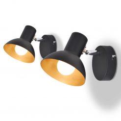 Candeeiros de parede 2 pcs p/ 2 lâmpadas E27 preto e dourado