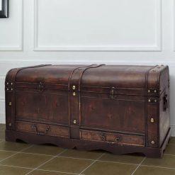 Cofre clássico de tesouro feito de madeira - mesa de café castanha - Baús