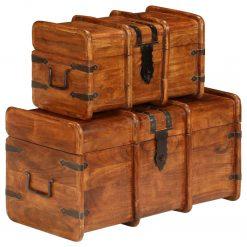 Conj. de arcas 2 pcs madeira acácia maciça acabamento sheesham - Baús