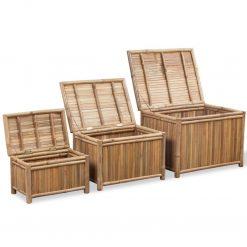Conjunto 3 caixas de armazenamento de bambu - Baús