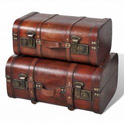 Conjunto de 2 baus de madeira castanhos 2 peças - Baús