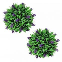 Conjunto de 2 bolas de buxo artificiais com lavanda 28 cm - Plantas Artificiais