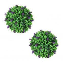 Conjunto de 2 bolas de buxo artificiais com lavanda 36 cm - Plantas Artificiais