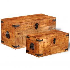 Conjunto de 2 cofres armazenamento de madeira de mango - Baús
