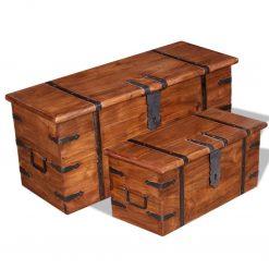 Conjunto de arcas de arrumação 2 pcs madeira maciça - Baús