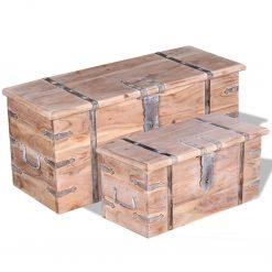 Conjunto de arcas de arrumação 2 pcs madeira maciça de acácia - Baús