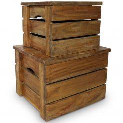 Conjunto de caixas de arrumação 2 pcs madeira reciclada maciça - Baús