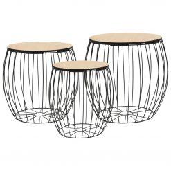 Conjunto de mesas de centro 3 pcs contraplacado de álamo/ferro