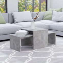 Conjunto mesas centro 100x48x40cm contraplacado cinza cimento
