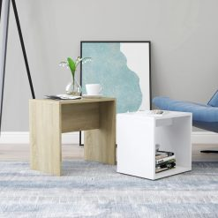 Conjunto mesas centro 48x30x45 cm contraplacado branco/carvalho