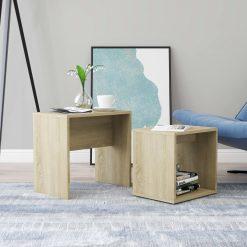 Conjunto mesas centro 48x30x45 cm contraplacado carvalho sonoma