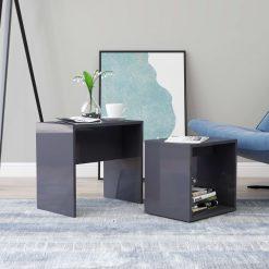 Conjunto mesas centro 48x30x45 cm contraplacado cinza brilhante