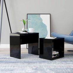 Conjunto mesas centro 48x30x45 cm contraplacado preto brilhante