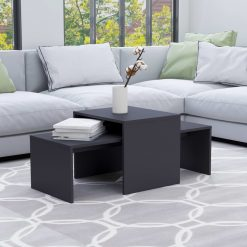 Conjunto mesas de centro 100x48x40 cm contraplacado cinzento