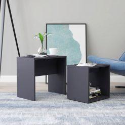 Conjunto mesas de centro 48x30x45 cm contraplacado cinzento