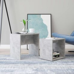 Conjunto mesas de centro 48x30x45cm contraplacado cinza cimento