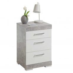 FMD Mesa de cabeceira c 3 gavetas cinzento cimento e branco brilhante