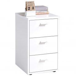 FMD Mesa de cabeceira com 3 gavetas branco