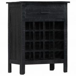 Garrafeira 56x35x75 cm madeira de mangueira maciça preto - Garrafeiras
