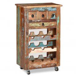 Garrafeira para 9 garrafas madeira reciclada maciça - Garrafeiras
