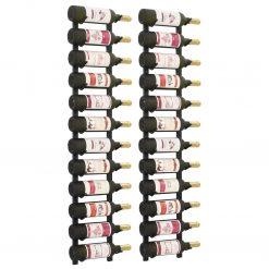 Garrafeiras de parede para 12 garrafas 2 pcs ferro preto - Garrafeiras