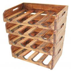 Garrafeiras para 16 garrafas 4 pcs madeira recuperada maciça - Garrafeiras