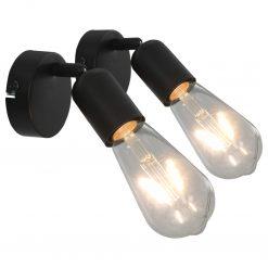 Holofotes 2 pcs lâmpadas de incand. 2 W preto E27