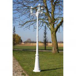 Kingston Candeeiro de pé para jardim 3 braços / 215 cm Branco