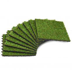Ladrilhos de relva artificial 10 pcs 30x30 cm verde - Plantas Artificiais