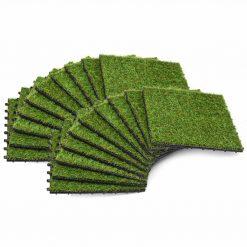 Ladrilhos de relva artificial 20 pcs 30x30 cm verde - Plantas Artificiais