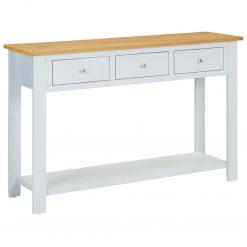 Mesa consola 118x35x77 cm madeira de carvalho maciça