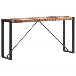 Mesa consola 150x35x76 cm madeira recuperada maciça