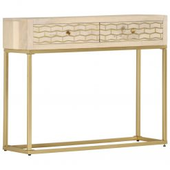 Mesa consola 90x30x75 cm madeira de mangueira maciça dourado - Mesas de Consola