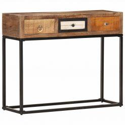 Mesa consola 90x30x75 cm madeira recuperada maciça dourado - Mesas de Consola
