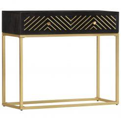 Mesa consola 90x30x75 cm mangueira maciça preto e dourado - Mesas de Consola