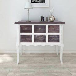 Mesa consola com 6 gavetas castanho e branco madeira - Mesas de Consola