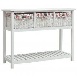 Mesa consola com trás cestos madeira branco