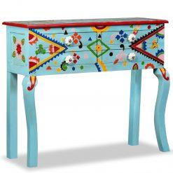 Mesa consola madeira mangueira maciça azul pintada ã mão - Mesas de Consola