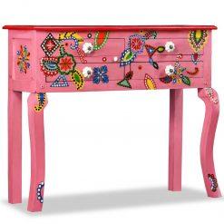 Mesa consola madeira mangueira maciça rosa pintada ã mão - Mesas de Consola