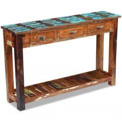 Mesa consola madeira reciclada sólida 120x30x76 cm - Mesas de Consola